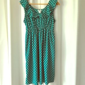 Motherhood Maternity green polka dot dress